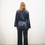 kimono satin bleu marine